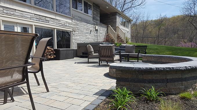 backyard patio smokeless fire pit and steps